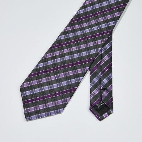 Cross-Striped Silk Tie // Purple + Gray