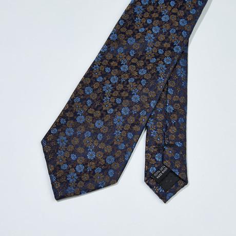 Floral Patter Silk Tie // Brown + Navy + Blue