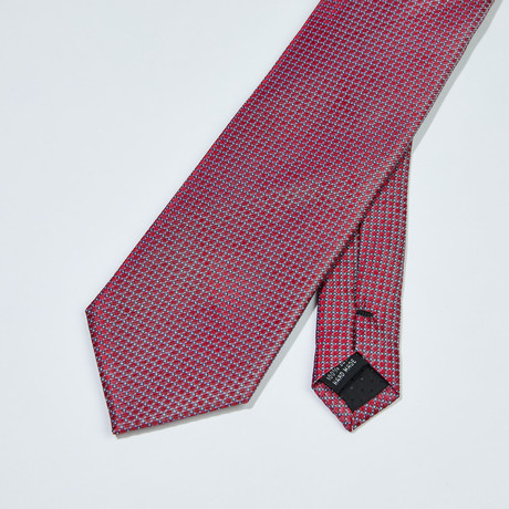 Dotted Grid Patter Silk Tie // Red