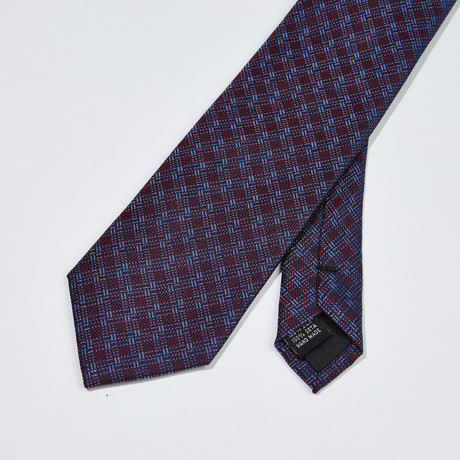 Woven Checkered Patter Silk Tie // Blue + Purple