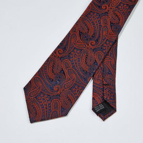 Paisley Silk Tie // Orange + Navy