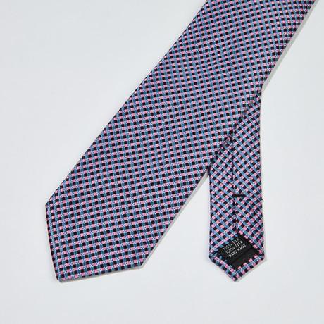 Woven Pattern Silk Tie // Blue + Black + Pink