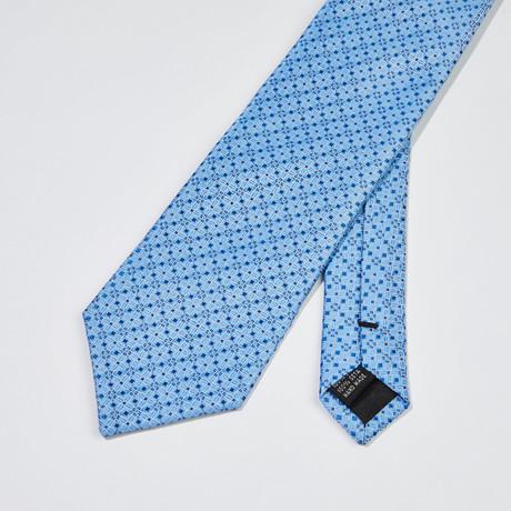 Floral Grid Silk Tie // Light Blue