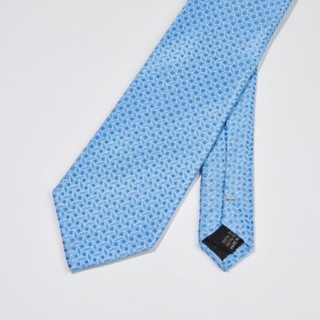 Large Woven Pattern Silk Tie // Light Blue