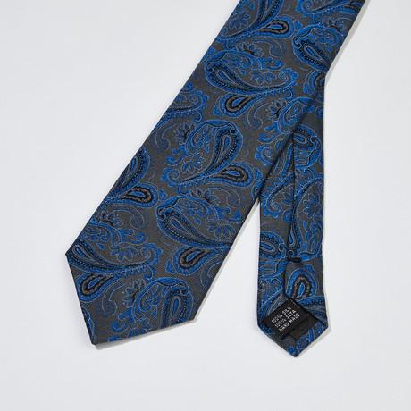 Paisley Silk Tie // Gray + Blue