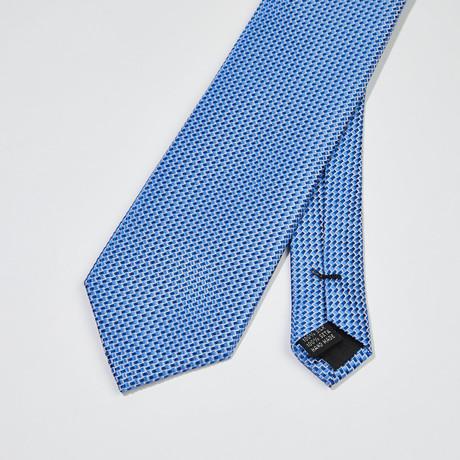 Woven Pattern Silk Tie // Blue + Light Blue