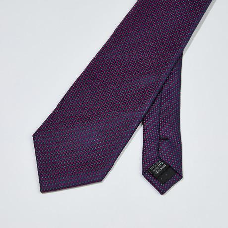 Small Diamond Pattern Silk Tie // Gray + Purple