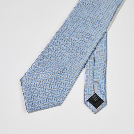 Woven Stripe Silk Tie // Light Gray + Light Blue