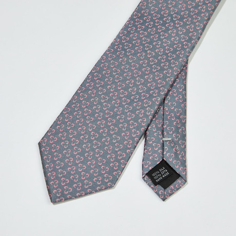Triangle Floral Silk Tie // Gray + Pink