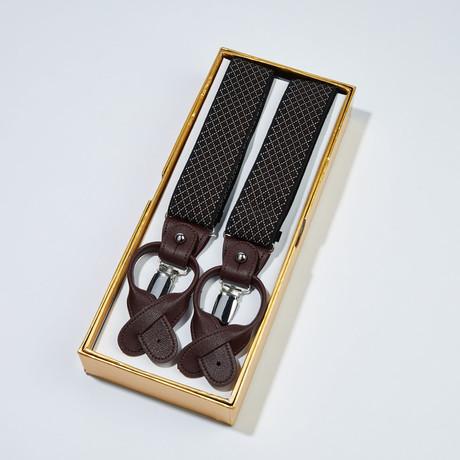 Diamond Pattern Suspenders // Brown