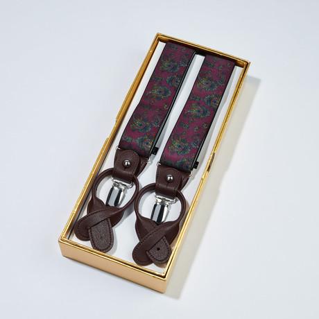 Paisley Suspenders // Burgundy + Brown