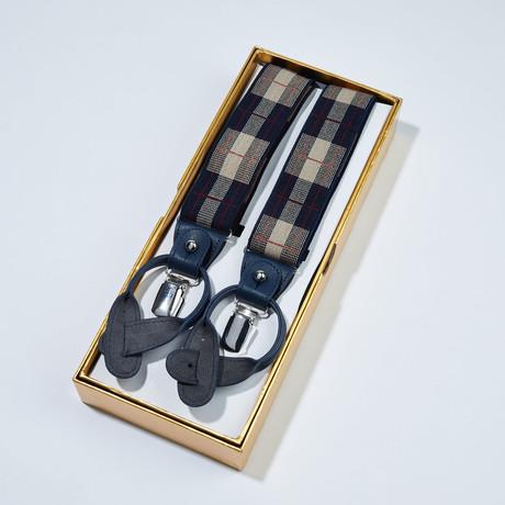 Plaid Pattern Suspenders // Navy