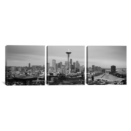 "Seattle Panoramic Skyline Cityscape // Evening // B+W (36""W x 12""H x 0.75""D)"