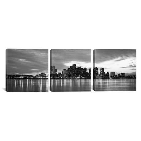"Boston Panoramic Skyline Cityscape // Sunset // B+W (36""W x 12""H x 0.75""D)"