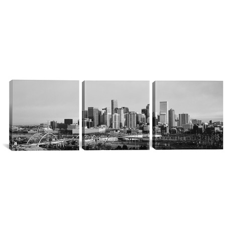 "Denver Panoramic Skyline Cityscape // Sunset // B+W (36""W x 12""H x 0.75""D)"