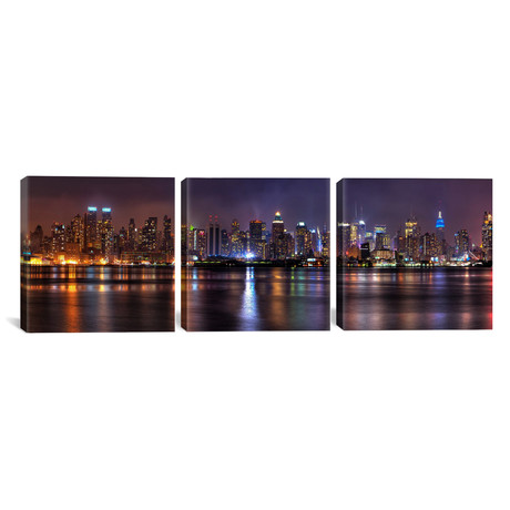 "New York Panoramic Skyline Cityscape // Night (36""W x 12""H x 0.75""D)"