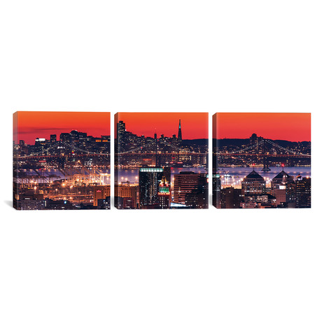 "Oakland SF Twilight // Greg Linhares (36""W x 12""H x 0.75""D)"