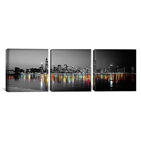 "Skyline at Night with Color Pop Lake Michigan Reflection // Chicago (36""W x 12""H x 0.75""D)"