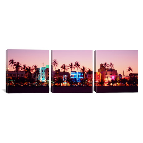"Night, Ocean Drive, Miami Beach, Florida, USA (36""W x 12""H x 0.75""D)"