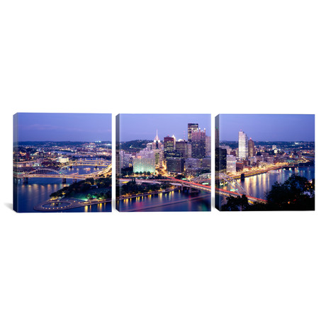 "Buildings in a city lit up at dusk // Pittsburgh (36""W x 12""H x 0.75""D)"