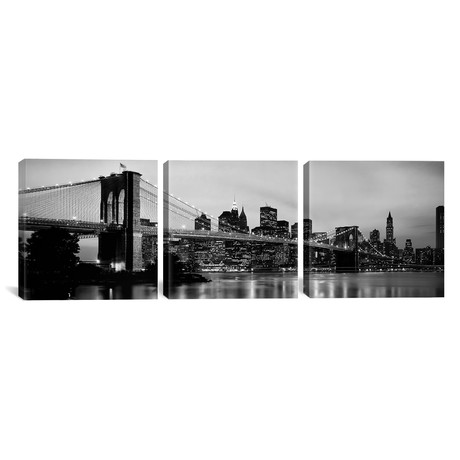 "Brooklyn Bridge across the East River at dusk // Manhattan (36""W x 12""H x 0.75""D)"
