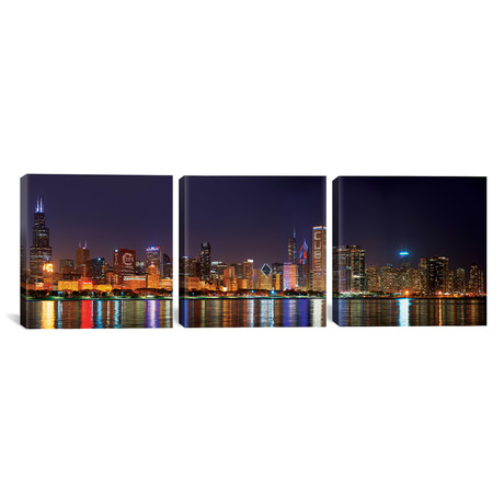 "Chicago Cubs Pride Lighting Across Downtown Skyline I // Chicago (36""W x 12""H x 0.75""D)"