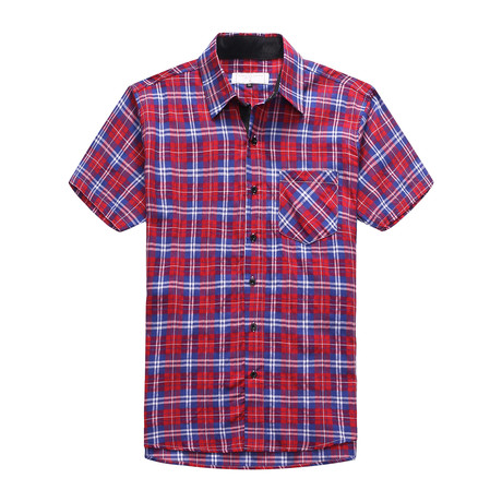 Interrupted Short Sleeve Plaid Shirt // Red (3XL)