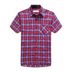 Interrupted Short Sleeve Plaid Shirt // Red (3XL)
