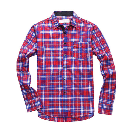 Interrupted Long Sleeve Plaid Shirt // Red (S)