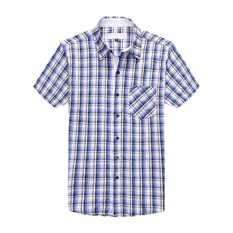 Interrupted Short Sleeve Plaid Shirt // Blue + White (XL)