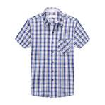 Interrupted Short Sleeve Plaid Shirt // Blue + White (3XL)