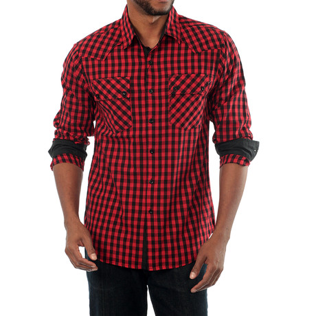 Secure Long Sleeve Plaid Shirt // Black + Red (S)