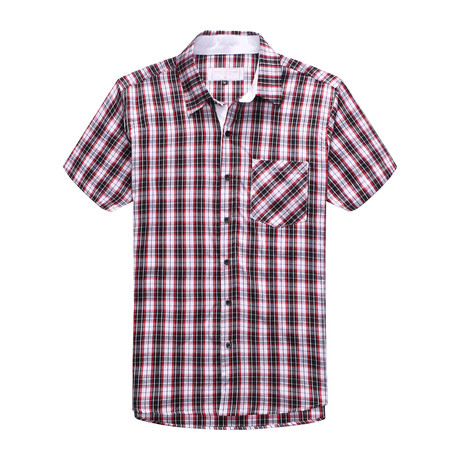 Interrupted Short Sleeve Plaid Shirt // Red + White (S)