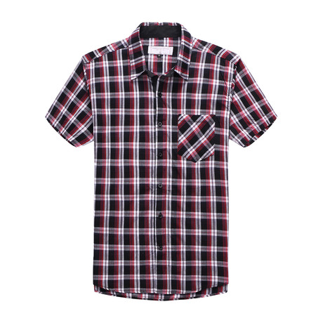 Interrupted Short Sleeve Plaid Shirt // Red + Black (2XL)
