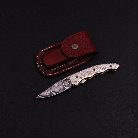 Handmade Damascus Liner Lock Folding Knife // 2775