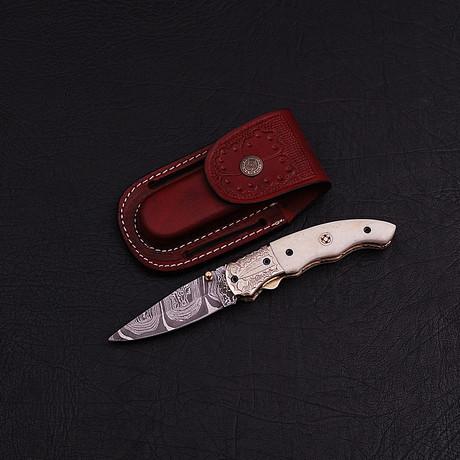 Handmade Damascus Liner Lock Folding Knife // 2776
