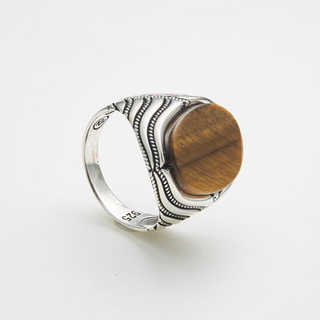 925 Solid Sterling Silver Oval Tiger Eye Ring (Size 8)