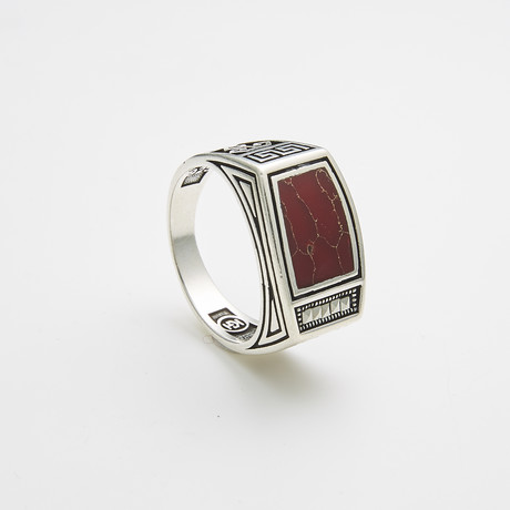 925 Solid Sterling Silver Carnellian Stone Ring (Size 8)