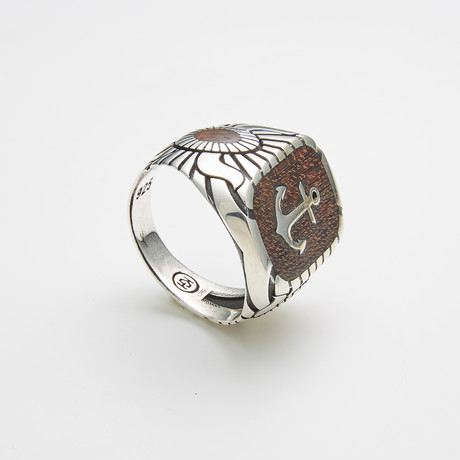 925 Sterling Silver Anchor Stamp Ring (Size 8)