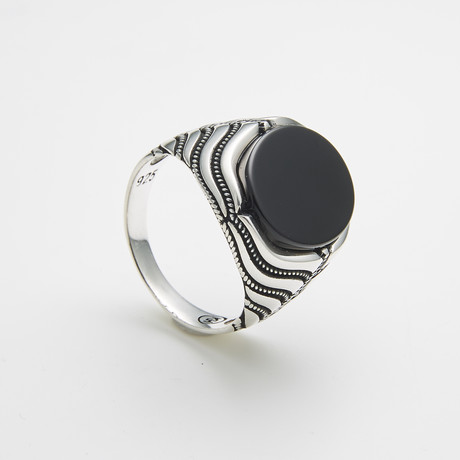 925 Solid Sterling Silver Oval Black Onyx Ring (Size 8)