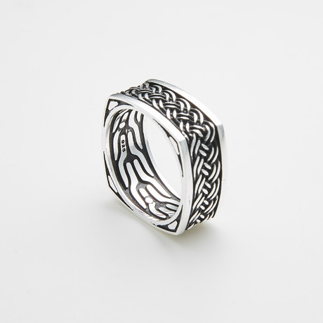 925 Solid Sterling Silver Square Woven Pattern Ring (Size 8)
