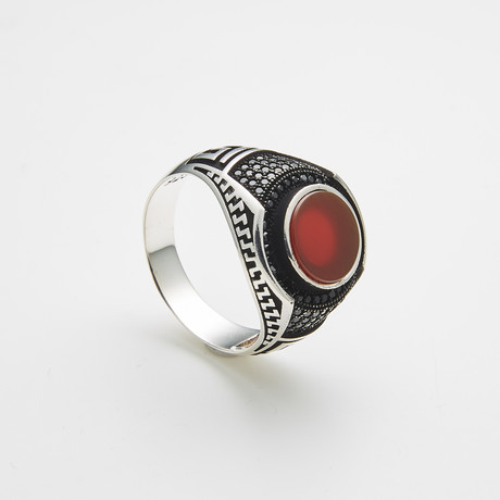 925 Solid Sterling Silver Round Carnelian Stone Ring (Size 8)