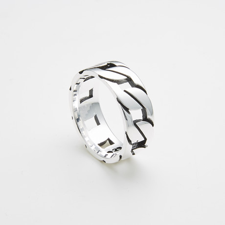 925 Solid Sterling Silver Cuban Link Ring (Size 8)