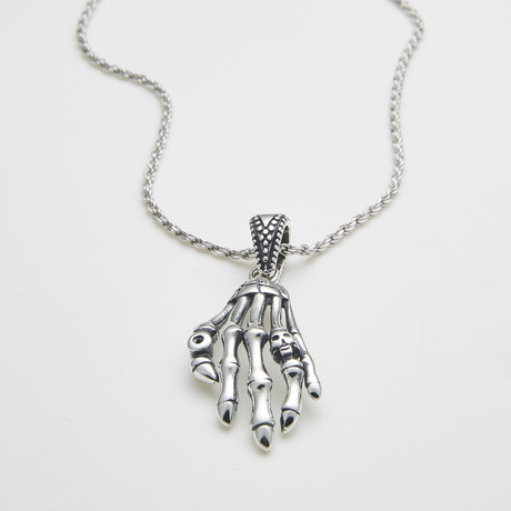 925 Solid Sterling Silbver Skulls Hand Necklace