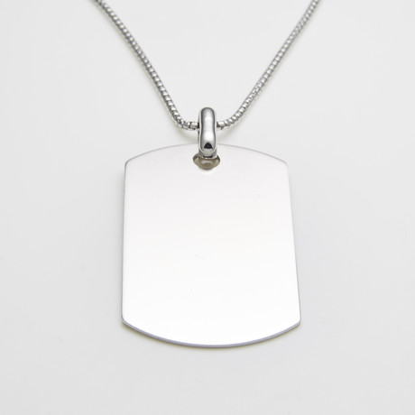 925 Solid Sterling Silver Large 2-Inch Dog Tag Necklace
