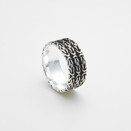 925 Solid Sterling Silver Three Row Pattern Ring (Size 8)