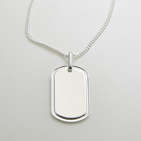 925 Solid Sterling Silver Indented Dog Tag Necklace