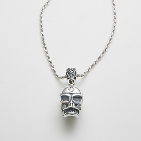 925 Solid Sterling Silver Skuls Head Necklace