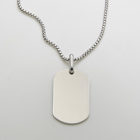 925 Solid Sterling Silver Dog Tag Necklace