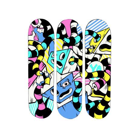 """Knotted Drews // Skateboard Triptych // 24"""" x 32"""""""